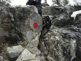 The crux on Heart Mountain. Just follow the red diamond.