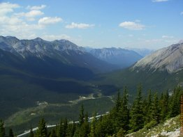 Looking into the valley from the tree line on Mount Lawrence Grassi.