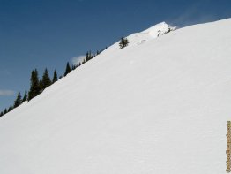 Be wary of cornices and the large open slope.
