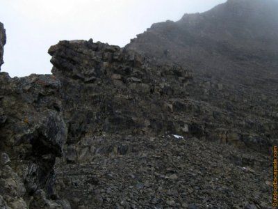 Typical terrain for the scramble portion. A lady is visible around top center of the photo.