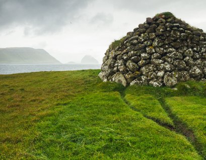 One of the many stone shelters found throughout the Faroes