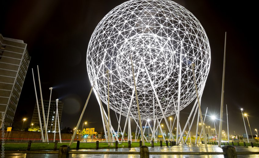 """RISE"" is a huge 38 meter tall ball that is in the center of a round about in Belfast."