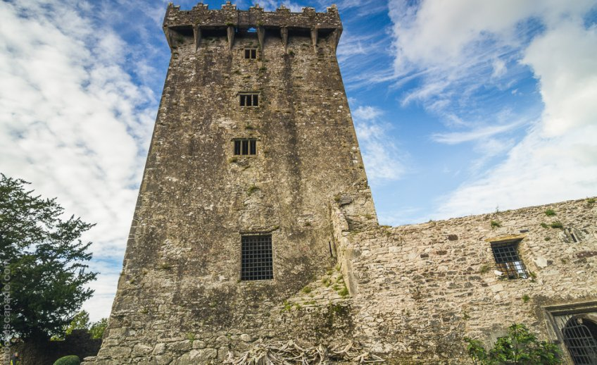 The opening you see at the very top is where the Blarney Stone is located