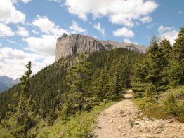 Looking back to the cliffs of Mount Yamnuska from the east point of the trail.